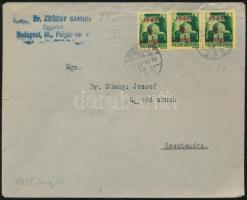 1945 (2.díjszabás) Távolsági levél Kisegítő 3x1P/1P bérmentesítéssel