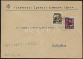 1945 (5.díjszabás) Nyomtatvány Kisegítő 10P/80f és 20P/30f bérmentesítéssel