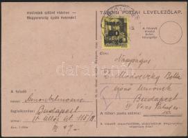 1945 (5.díjszabás) Helyi levelezőlap Kisegítő 60P/18f 10P-vel túl bérmentesítve