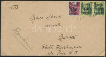 1945 (5.díjszabás) Levél Budapestről Romániába Kisegítő 2x100P/12f és 300P/30f bérmentesítéssel / Cover to Rumania
