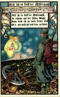 Steh' ich in finst'rer Mitternacht; Künstler-Kriegspostkarten, Mappe 12704 / K.u.K. military, family propaganda, Osztrák katonai propaganda; Künstler-Kriegspostkarten, Mappe 12704