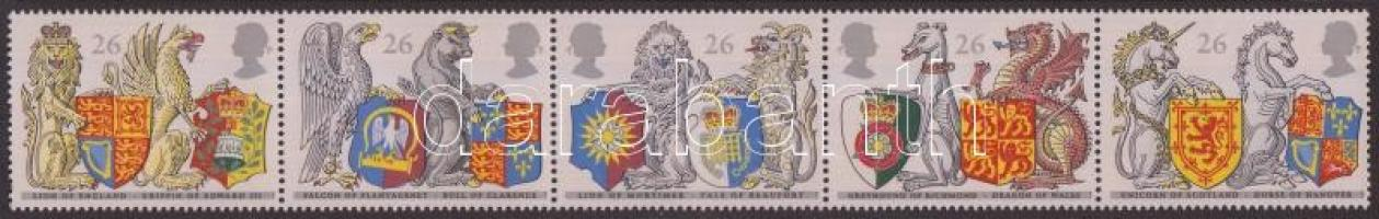 1998 650 éves a Térdszalagrend: Címer állatok és pajzsok ötöscsík Mi 1734-1738