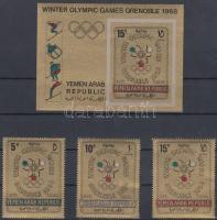 1967 Téli Olimpia, Grenoble sor Mi 613-615 + blokk 60 B