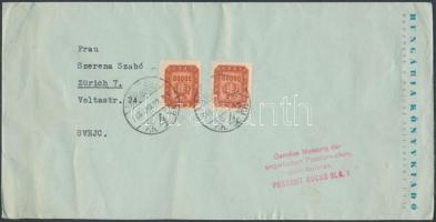 1946 (20. díjszabás) Levél Milliós és Milpengős bélyegekkel bérmentesítve / Cover to Switzerland BUDAPEST - Zürich