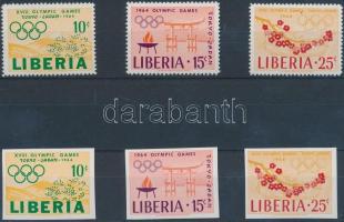 1964 Tokiói olimpia fogazott és vágott sor Mi 623-625