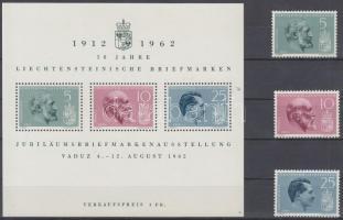 1962 50 éves a Liechtenstein-i bélyeg; Bélyegkiállítás sor Mi 415-417 + blokk 6