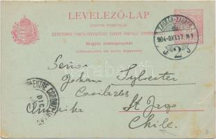 1904 Díjjegyes levelezőlap Chilébe / PS-card from Zágráb to Chile
