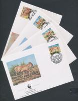 WWF Nubian wild donkey set + 4 FDC WWF Núbiai vadszamár sor + 4 FDC