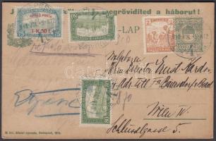 1918.júl.5. Hadikölcsön propaganda díjjegyes levelezőlap repülő posta 1,50k + kiegészítő bérmentesítéssel Bécsbe