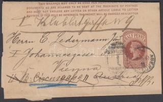1890 Díjjegyes címszalag Ausztriába, továbbküldve
