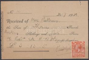 1931 Nyugta 2p postabélyeggel