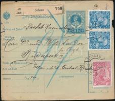 1912 Osztrák- liechtensteini vegyes bérmentesítés csomagszállítón / Austria - Liechtenstein mixed franking on parcel card SCHAAN - BUDAPEST