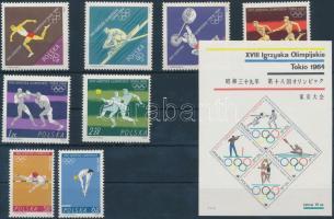 1964 Nyári olimpia sor Mi 1514-1521 + blokk 33