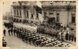 Vladivostok, Japanese troops passing Czech headquarters in inter-allied parade