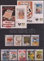 1993 Walt Disney, 65 éves Miki Egér sor Mi 1884-1894 + blokk 276, 277, 2 db stecklapon