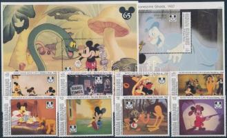 1993 Walt Disney, 65 éves Miki Egér sor Mi 1795-1804 + blokk 287, 288