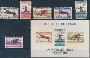 1964 Tokiói olimpia fogazott sor Mi 169-174 + vágott blokk Mi 5