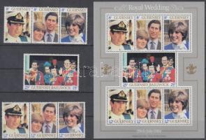 1981 Károly herceg és Lady Diana sor (közte 2 hármascsík) Mi 225-231 A + blokk Mi 3