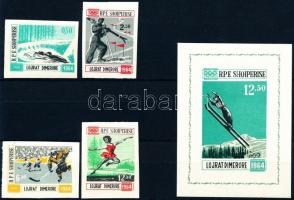 1963 Téli olimpia, Innsbruck (II) vágott sor Mi 798-801 + blokk Mi 21