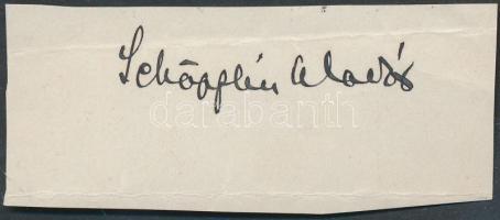 Schöpflin Aladár (1872-1950) magyar műkritikus, irodalomtörténész, író, műfordító. Aláírás kivágáson.