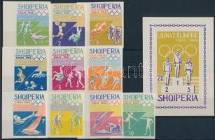 1964 Nyári olimpia ívszéli vágott sor Mi 870-879 + blokk Mi 26 B