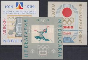 1964 Sport motívum, 3 db blokk Mi 12, 13, 14