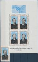 1968 Konrad Adenauer bélyeg Mi 333 + blokk Mi 4