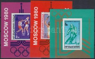 1979-1980 Olimpia 3 db blokk, közte fogazott és vágott Mi 94, 99, 103