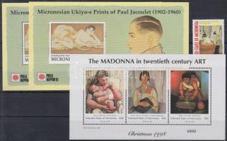 1991-2001 Paintings stamp + 3 minisheets + 2 blocks, 1991-2001 Festmény bélyeg + 3 db kisív + 2 db blokk