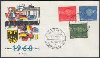 1960 Europa CEPT sor Mi 337-339 FDC-n
