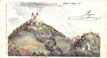 Selmecbánya, Banska Stiavnica; kálvária, Joerges kiadása / calvary (kis szakadás / small tear)