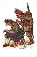 Hessische Trachten, Künstlerkarte Nr. 20. Verlagsanstalt Siegfried Bächer / German soldier, folklore s: Ernst Gutman, Hesseni katonaruha és népviselet s: Ernst Gutman