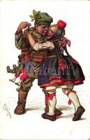 Künstler-Hessenkarte Nr. 8. Verlagsanstalt Siegfried Bächer / German soldier, folklore s: Ernst Gutman, Német katonafiú, lány népviseletben; Künstler-Hessenkarte Nr. 8. Verlagsanstalt Siegfried Bächer s: Ernst Gutman