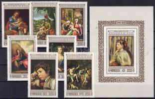 1968 UNESCO, festmények sor+blokk Mi 522-528+16