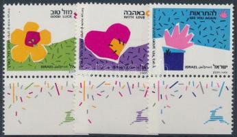 Greeting Stamps set with tab phosphor stripes, Üdvözlőbélyegek tabos sor foszforcsíkkal