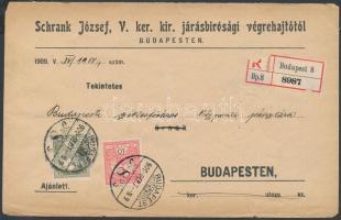 1911 Helyi ajánlott levél 16f bérmentesítéssel