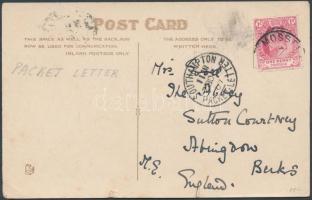 Hajóposta képeslap Angliába Postcard by marine post to England