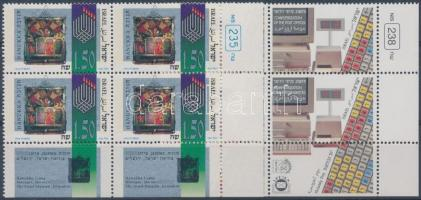 Hanukkah Stamp Day 2 corner blocks of 4 with tab, Hanuka, bélyegnap 2 klf ívsarki tabos négyestömb