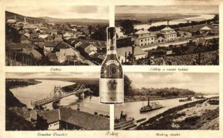 Tokaj, Vasúti híd, Erzsébet Tisza híd, egy üveg Tokaji Aszú (ázott / wet damage)