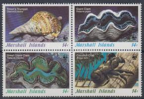 1986 WWF: Tengeri csigák és kagylók négyestömb Mi 73-76