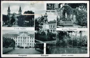Jászapáti, leporellós képeslap vasútállomással; Molnár Jánosné kiadása