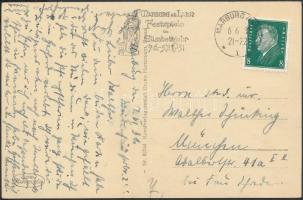 1931 Marburgi Szent Erzsébet templom képeslap Erzsébet év reklámbélyegzéssel HUNGARIKA