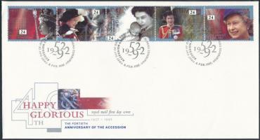 1992 II. Erzsébet királynő ötöscsík Mi 1387-1391 FDC