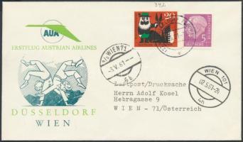 1961 AUA első repülés levél Düsseldorf-Wien