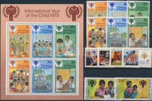 International Children's Year editions fom 6 diff. countries, 5 diff. sets, 2 blocks, Nemzetközi Gyermek év 6 klf ország kiadása 5 klf sor, 2 blokk