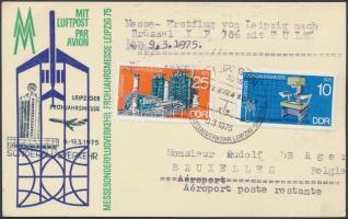 1975 INTERFLUG első repülés levelezőlap Lipcse-Brüsszel