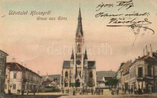 Kőszeg, Fő tér, templom, kiadja Róth Jenő (EK)