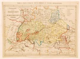 1799 Franz Müller: Postkarte von den Bayrischen und Schwaebischen Kreise (Tabula cursus circuli Bavarici et Suevici repraesentans), Bajorország térképe. Színezett rézmetszet. 51x38 cm / 1799 Map of Bavaria. Franz Müller. Colored etching 51x38 cm