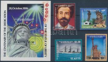 1986 New York-i szabadságszobor sor Mi 188-191 + blokk Mi 5
