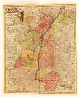 cca 1770 Georg Balthasar Probst (1732-1801): Landgraviatus Alsatiae tam superioris quam inferi cum utroqe Marchionatu Badensi...(Baden és Elzász térkép). Színezett rézmetszet. / cca 1770 Map of Alsace (Elsass) Colored etching. 37x44 cm